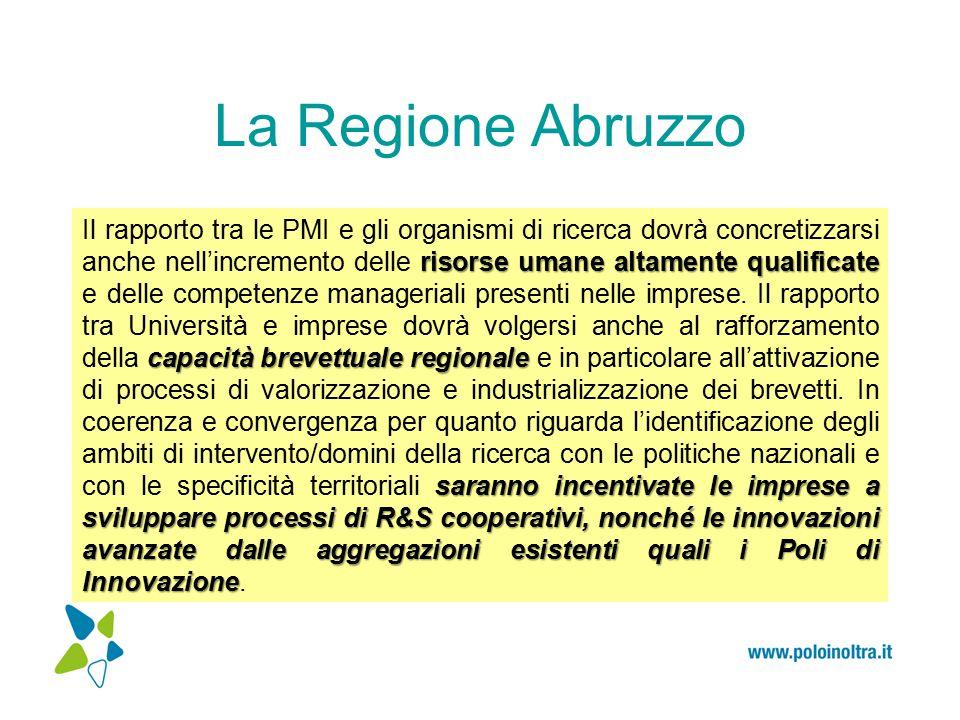 La Regione Abruzzo Il Programma Operativo FESR: A SSI O BIETTIVI T EMATICI ex art.