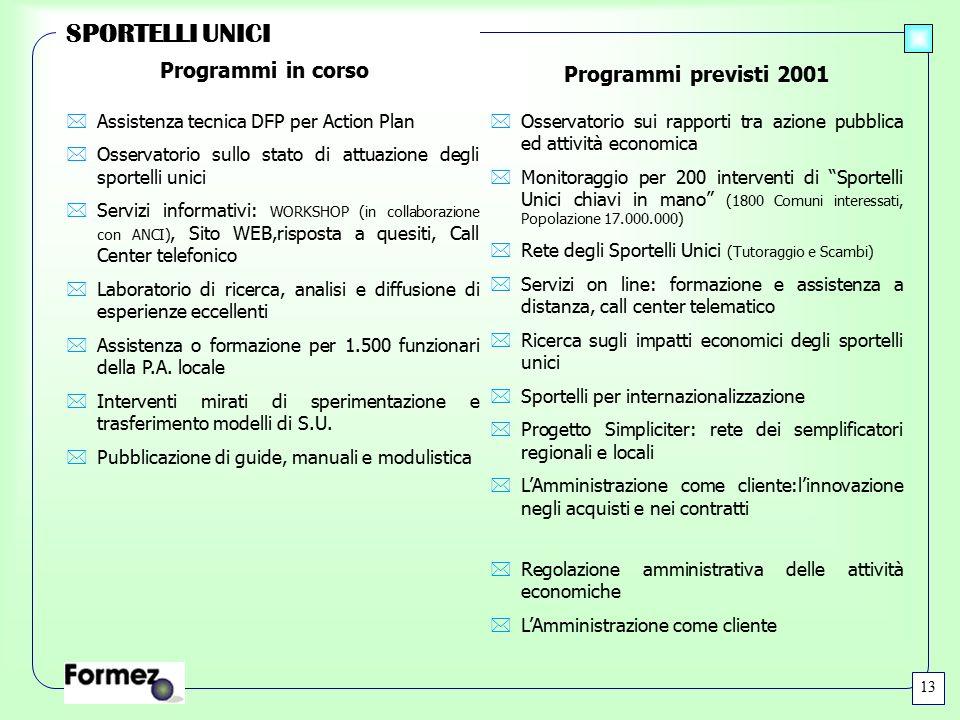 SPORTELLI UNICI *Assistenza tecnica DFP per Action Plan *Osservatorio sullo stato di attuazione degli sportelli unici *Servizi informativi: WORKSHOP (