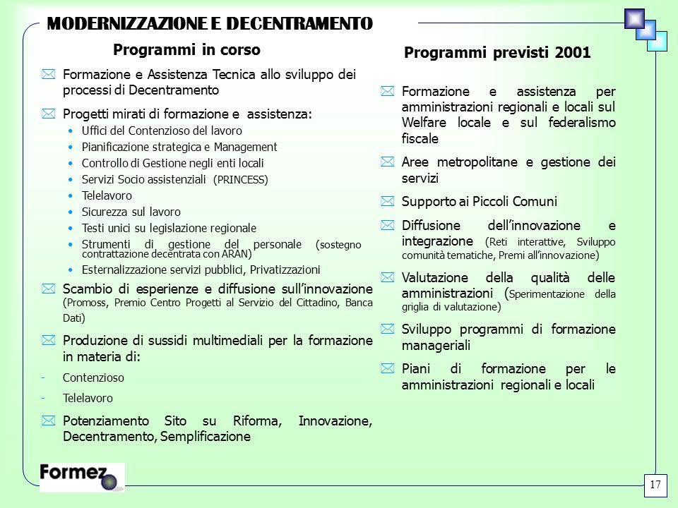 MODERNIZZAZIONE E DECENTRAMENTO 17 *Formazione e assistenza per amministrazioni regionali e locali sul Welfare locale e sul federalismo fiscale *Aree