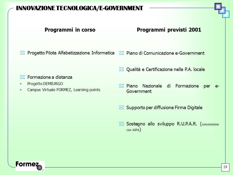 INNOVAZIONE TECNOLOGICA/E-GOVERNMENT *Progetto Pilota Alfabetizzazione Informatica *Formazione a distanza Progetto DEMIURGO Campus Virtuale FORMEZ, Le