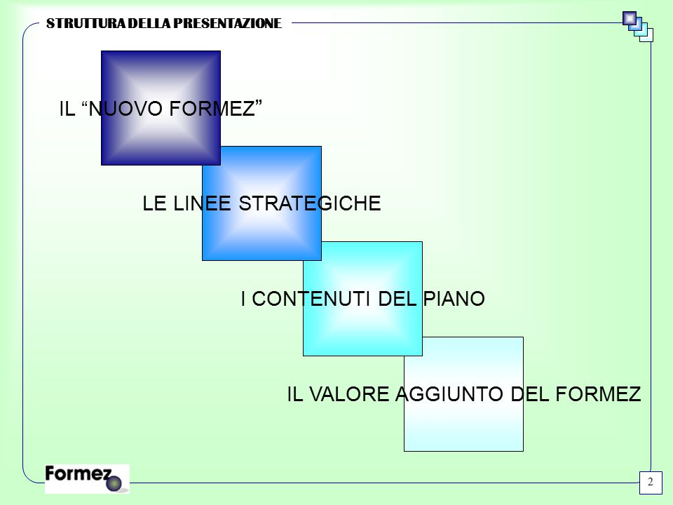 """IL VALORE AGGIUNTO DEL FORMEZ I CONTENUTI DEL PIANO LE LINEE STRATEGICHE IL """"NUOVO FORMEZ """" STRUTTURA DELLA PRESENTAZIONE 2"""