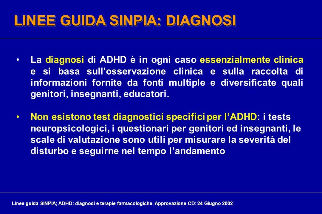 LINEE GUIDA SINPIA: DIAGNOSI La diagnosi di ADHD è in ogni caso essenzialmente clinica e si basa sull'osservazione clinica e sulla raccolta di informazioni fornite da fonti multiple e diversificate quali genitori, insegnanti, educatori.