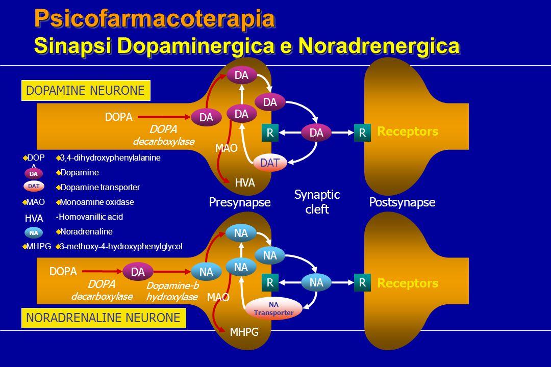 Psicofarmacoterapia Sinapsi Dopaminergica e Noradrenergica DOPAMINE NEURONE Synaptic cleft PresynapsePostsynapse DA DOPA DOPA decarboxylase HVA DAT RR DOPA DANA NA Transporter RR Dopamine-b hydroxylase MHPG DOPA decarboxylase NORADRENALINE NEURONE MAO Receptors  3-methoxy-4-hydroxyphenylglycol  MHPG  Monoamine oxidase  MAO  3,4-dihydroxyphenylalanine  DOP A  Noradrenaline NA  Dopamine DA  Dopamine transporter DAT Homovanillic acid HVA Receptors