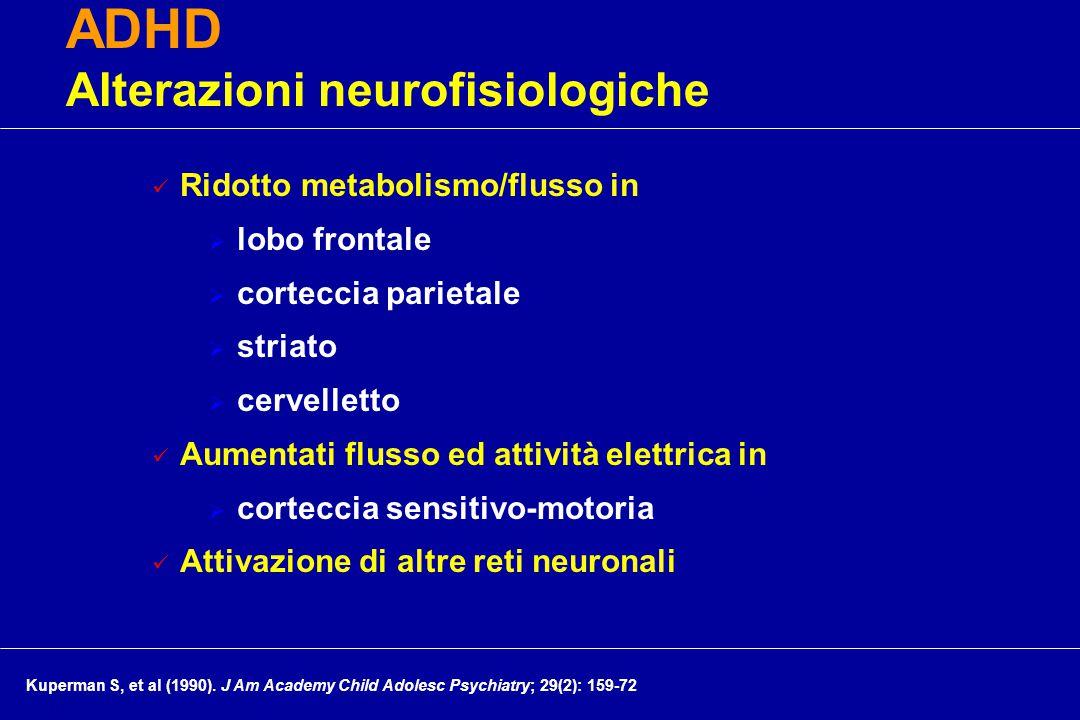 Ridotto metabolismo/flusso in  lobo frontale  corteccia parietale  striato  cervelletto Aumentati flusso ed attività elettrica in  corteccia sensitivo-motoria Attivazione di altre reti neuronali ADHD Alterazioni neurofisiologiche cm Kuperman S, et al (1990).