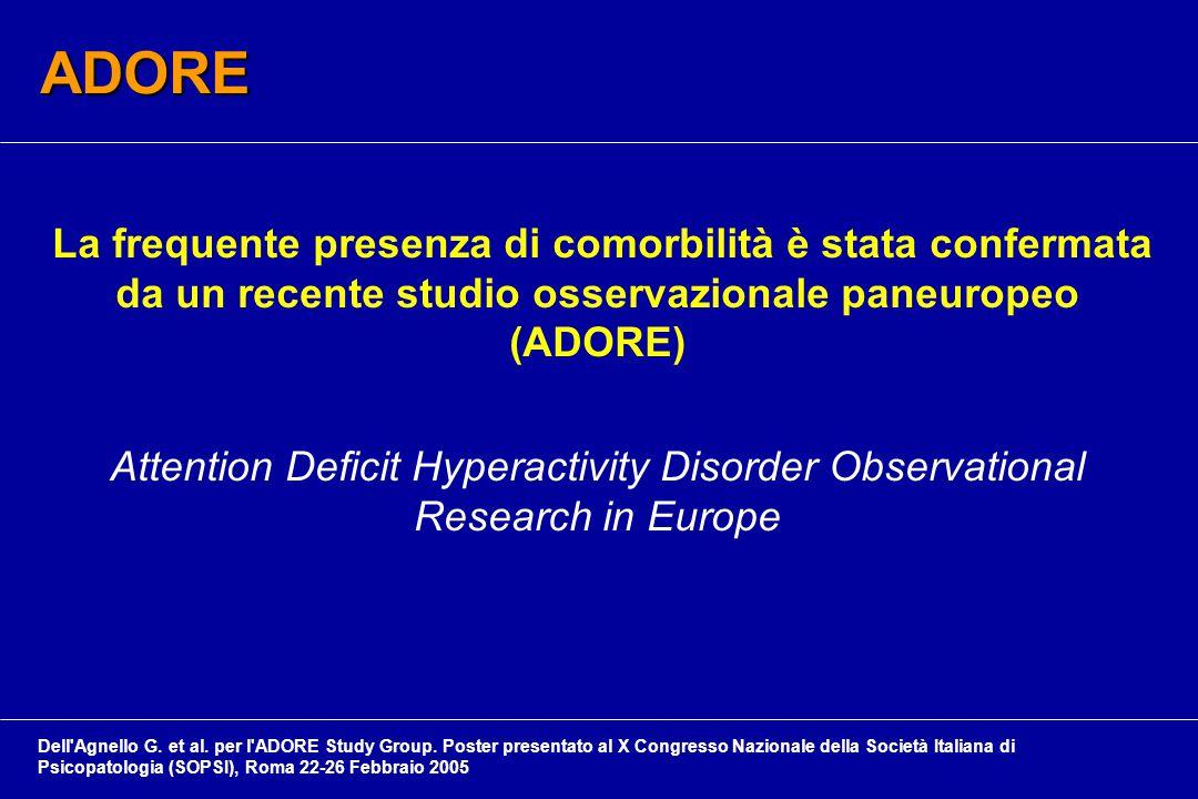 La frequente presenza di comorbilità è stata confermata da un recente studio osservazionale paneuropeo (ADORE) Attention Deficit Hyperactivity Disorder Observational Research in Europe ADORE Dell Agnello G.