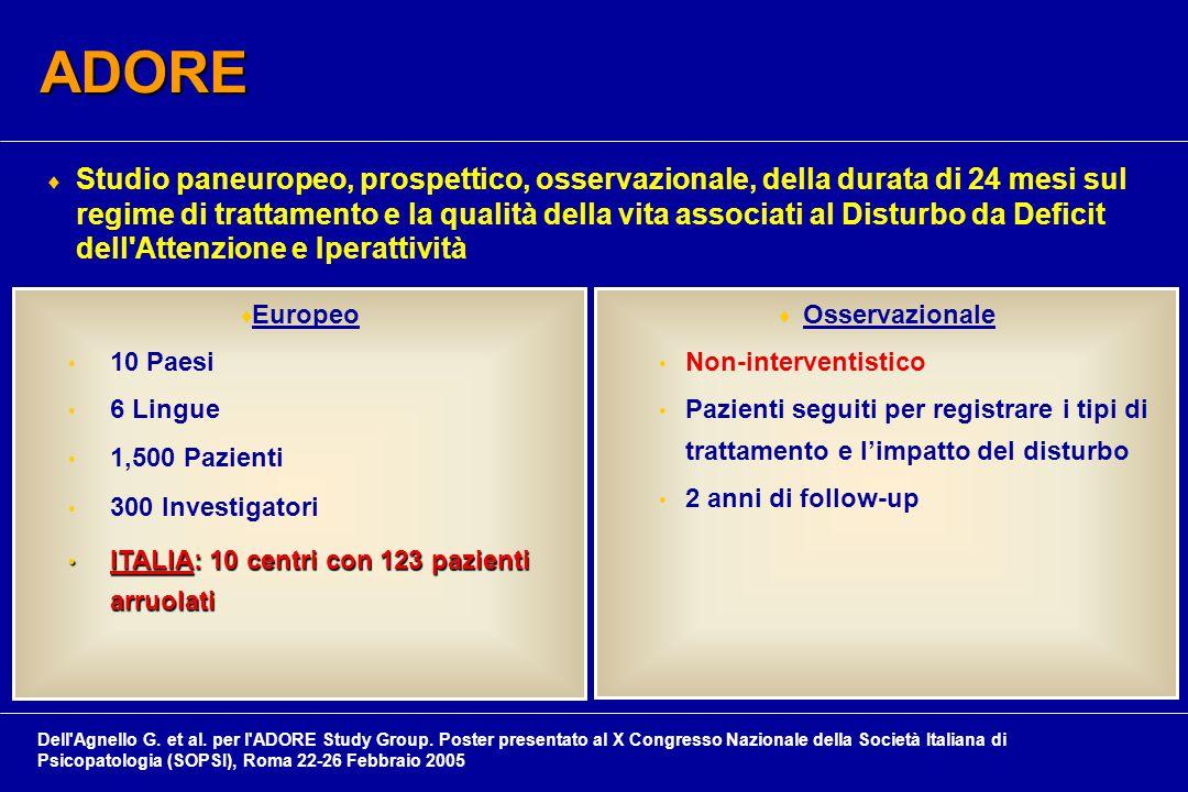  Studio paneuropeo, prospettico, osservazionale, della durata di 24 mesi sul regime di trattamento e la qualità della vita associati al Disturbo da Deficit dell Attenzione e Iperattività  Europeo 10 Paesi 6 Lingue 1,500 Pazienti 300 Investigatori ITALIA: 10 centri con 123 pazienti arruolati ITALIA: 10 centri con 123 pazienti arruolati  Osservazionale Non-interventistico Pazienti seguiti per registrare i tipi di trattamento e l'impatto del disturbo 2 anni di follow-up ADORE Dell Agnello G.