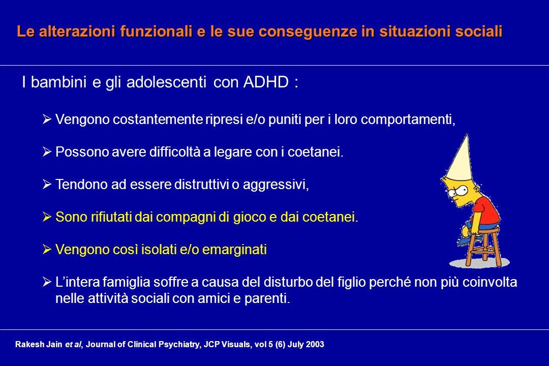 Le alterazioni funzionali e le sue conseguenze in situazioni sociali I bambini e gli adolescenti con ADHD :  Vengono costantemente ripresi e/o puniti per i loro comportamenti,  Possono avere difficoltà a legare con i coetanei.