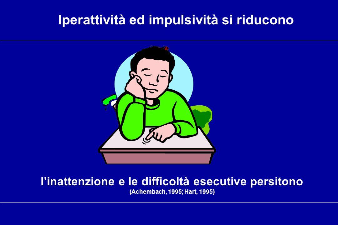 l'inattenzione e le difficoltà esecutive persitono (Achembach, 1995; Hart, 1995) Iperattività ed impulsività si riducono