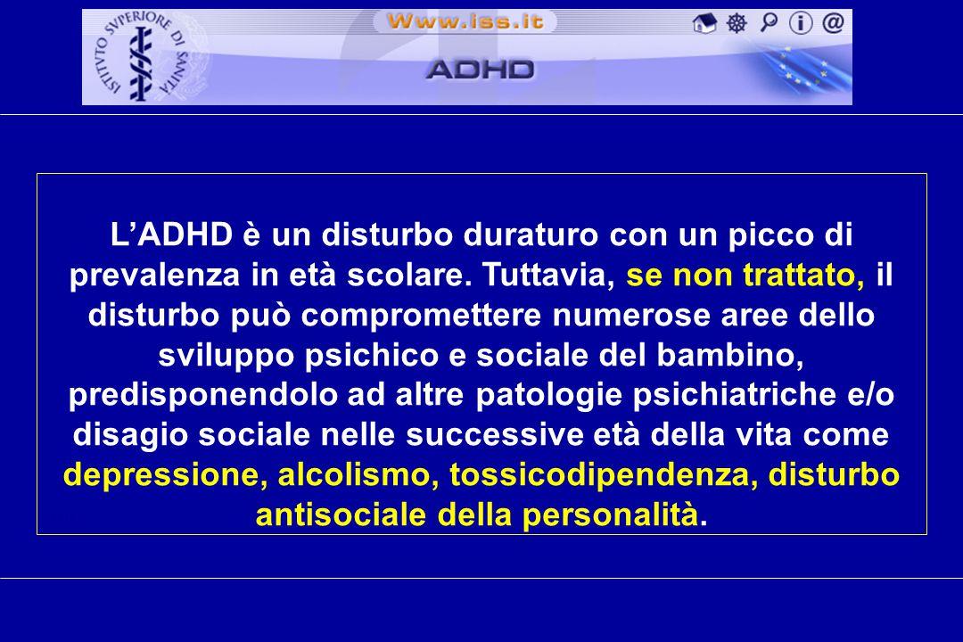 cm L'ADHD è un disturbo duraturo con un picco di prevalenza in età scolare.