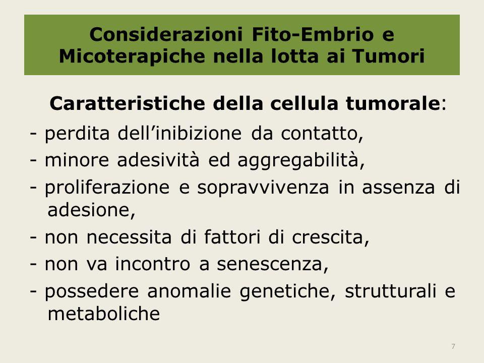 Considerazioni Fito-Embrio e Micoterapiche nella lotta ai Tumori Caratteristiche della cellula tumorale : -attraversare le membrane basali, -indurre neoangiogenesi, -resistere alla reazione immunitaria.