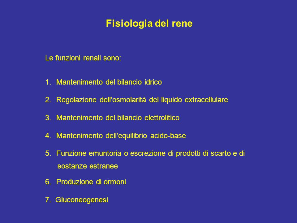 I tre processi svolti dal nefrone: - Filtrazione - Riassorbimento - Secrezione Escrezione urinaria