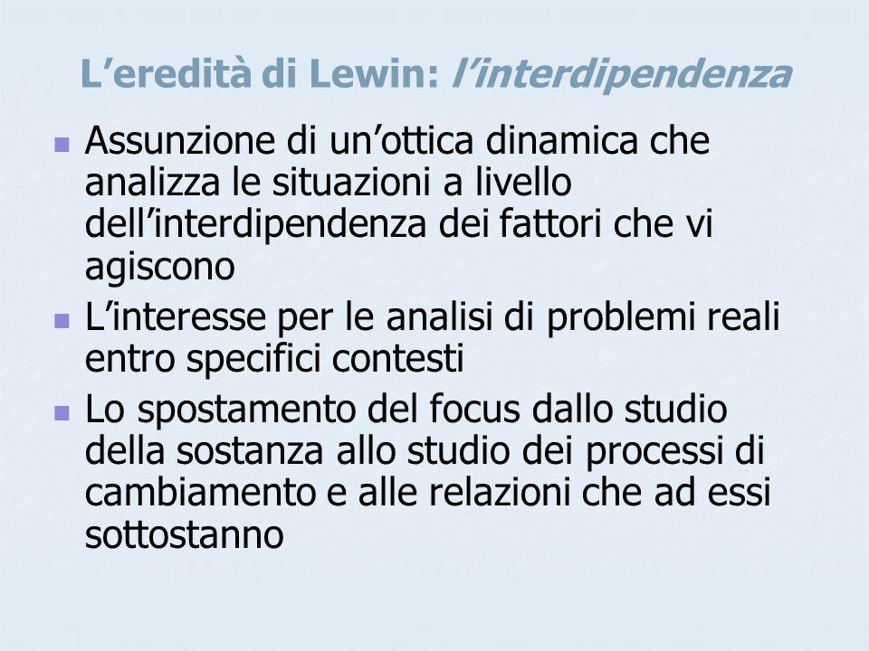 L'eredità di Lewin: l'interdipendenza Assunzione di un'ottica dinamica che analizza le situazioni a livello dell'interdipendenza dei fattori che vi agiscono L'interesse per le analisi di problemi reali entro specifici contesti Lo spostamento del focus dallo studio della sostanza allo studio dei processi di cambiamento e alle relazioni che ad essi sottostanno