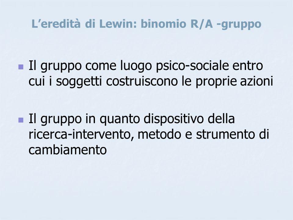 L'eredità di Lewin: binomio R/A -gruppo Il gruppo come luogo psico-sociale entro cui i soggetti costruiscono le proprie azioni Il gruppo in quanto dispositivo della ricerca-intervento, metodo e strumento di cambiamento