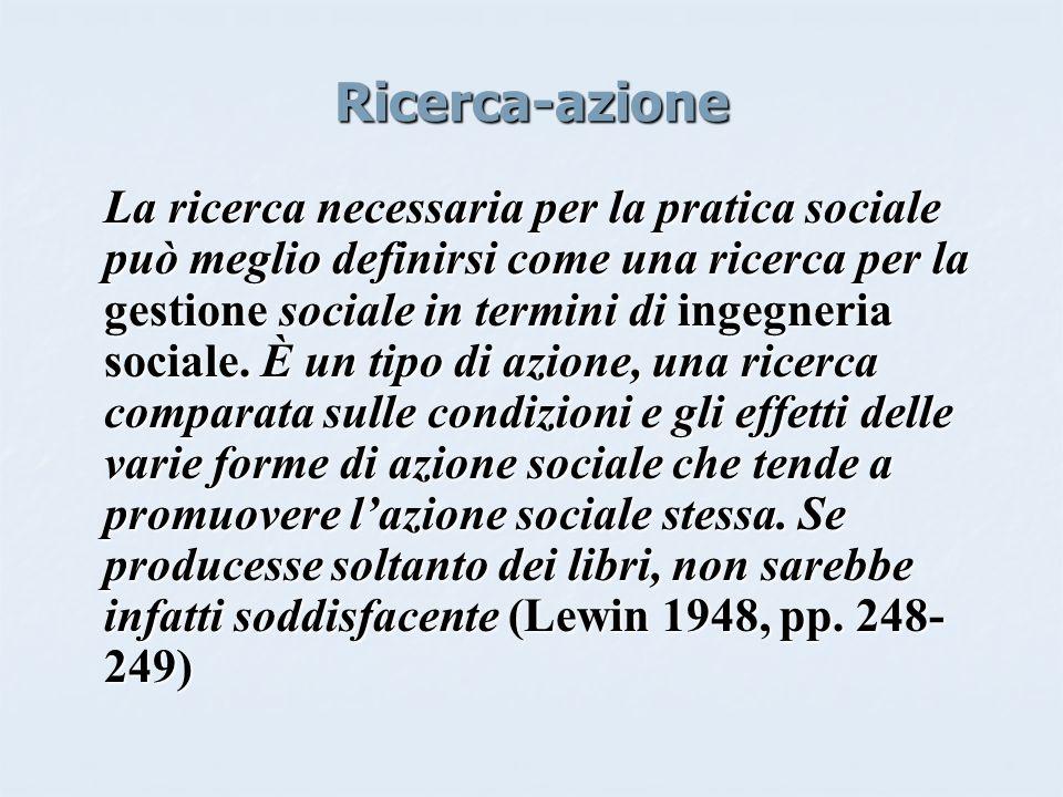 Ricerca-azione La ricerca necessaria per la pratica sociale può meglio definirsi come una ricerca per la gestione sociale in termini di ingegneria sociale.