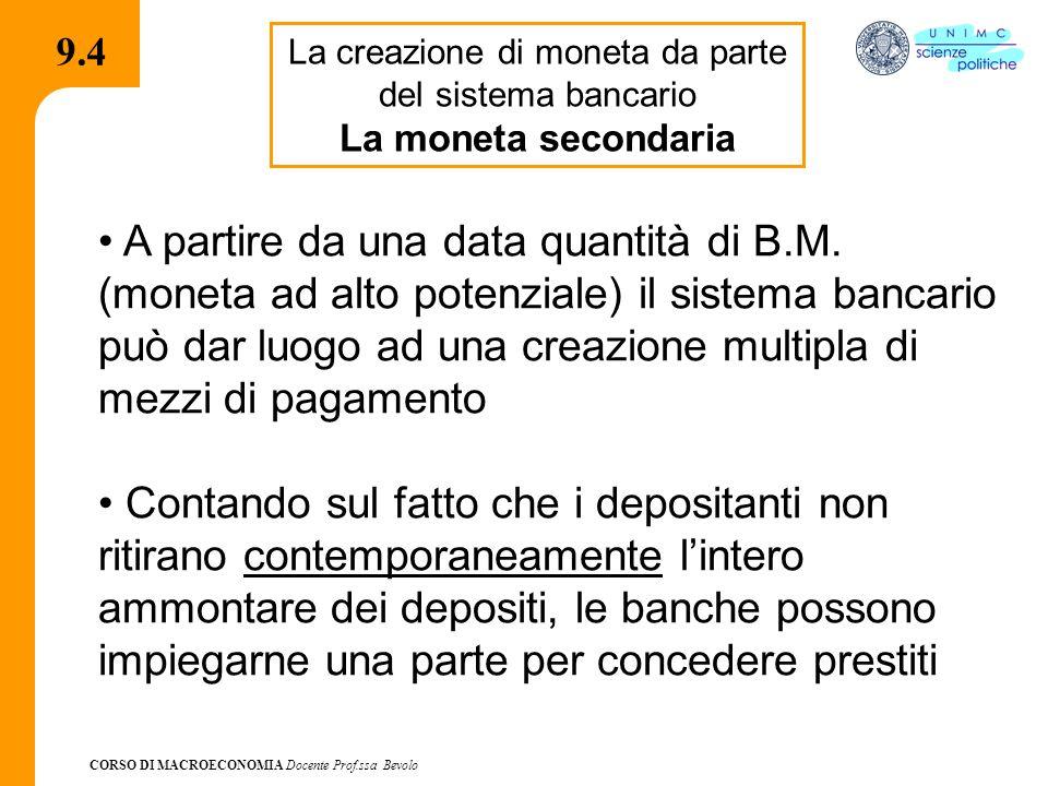 CORSO DI MACROECONOMIA Docente Prof.ssa Bevolo 9.4 La creazione di moneta da parte del sistema bancario La moneta secondaria A partire da una data quantità di B.M.