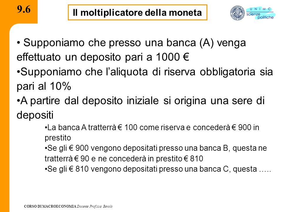 CORSO DI MACROECONOMIA Docente Prof.ssa Bevolo 9.6 Il moltiplicatore della moneta Supponiamo che presso una banca (A) venga effettuato un deposito pari a 1000 € Supponiamo che l'aliquota di riserva obbligatoria sia pari al 10% A partire dal deposito iniziale si origina una sere di depositi La banca A tratterrà € 100 come riserva e concederà € 900 in prestito Se gli € 900 vengono depositati presso una banca B, questa ne tratterrà € 90 e ne concederà in prestito € 810 Se gli € 810 vengono depositati presso una banca C, questa …..