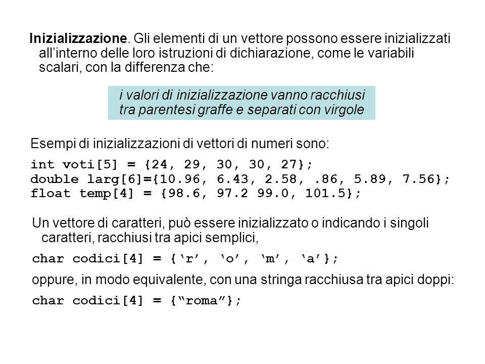 Esempi di inizializzazioni di vettori di numeri sono: int voti[5] = {24, 29, 30, 30, 27}; double larg[6]={10.96, 6.43, 2.58,.86, 5.89, 7.56}; float te