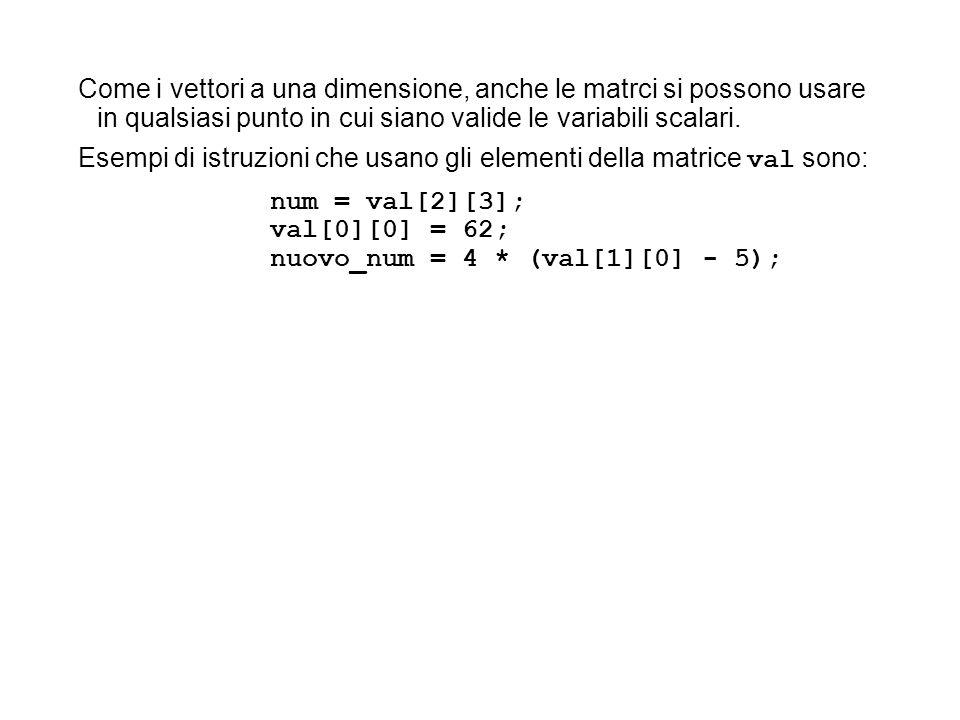 Come i vettori a una dimensione, anche le matrci si possono usare in qualsiasi punto in cui siano valide le variabili scalari. Esempi di istruzioni ch