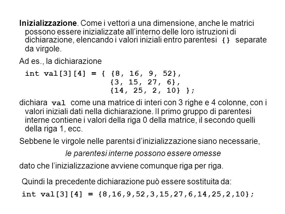 Inizializzazione. Come i vettori a una dimensione, anche le matrici possono essere inizializzate all'interno delle loro istruzioni di dichiarazione, e