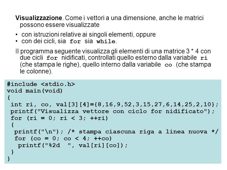 Visualizzazione. Come i vettori a una dimensione, anche le matrici possono essere visualizzate con istruzioni relative ai singoli elementi, oppure con