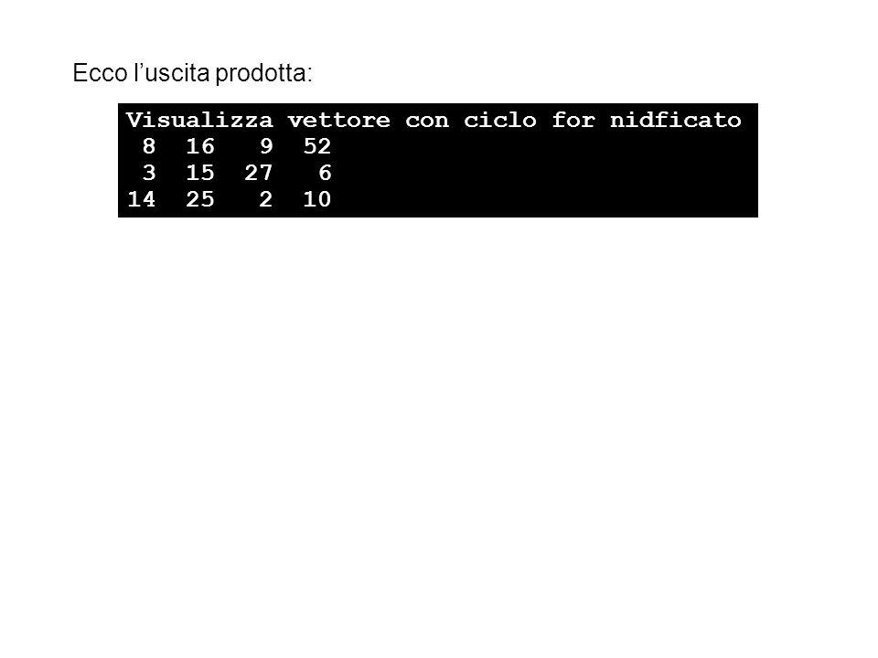 Ecco l'uscita prodotta: Visualizza vettore con ciclo for nidficato 8 16 9 52 3 15 27 6 14 25 2 10