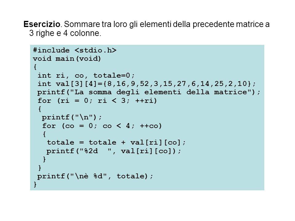 Esercizio. Sommare tra loro gli elementi della precedente matrice a 3 righe e 4 colonne. #include void main(void) { int ri, co, totale=0; int val[3][4