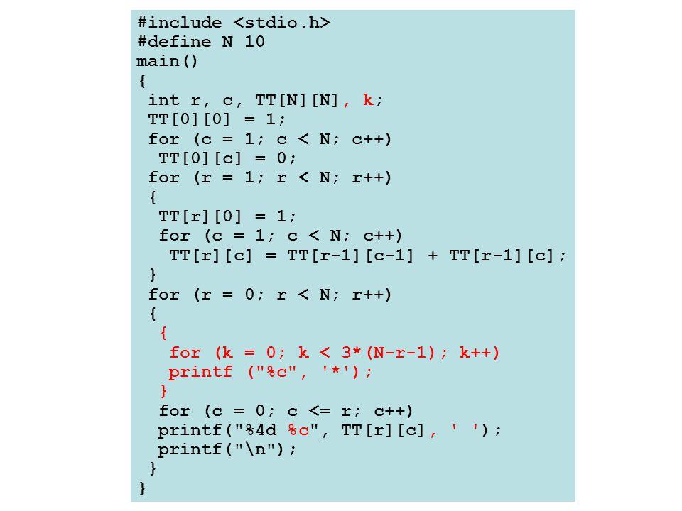 #include #define N 10 main() { int r, c, TT[N][N], k; TT[0][0] = 1; for (c = 1; c < N; c++) TT[0][c] = 0; for (r = 1; r < N; r++) { TT[r][0] = 1; for