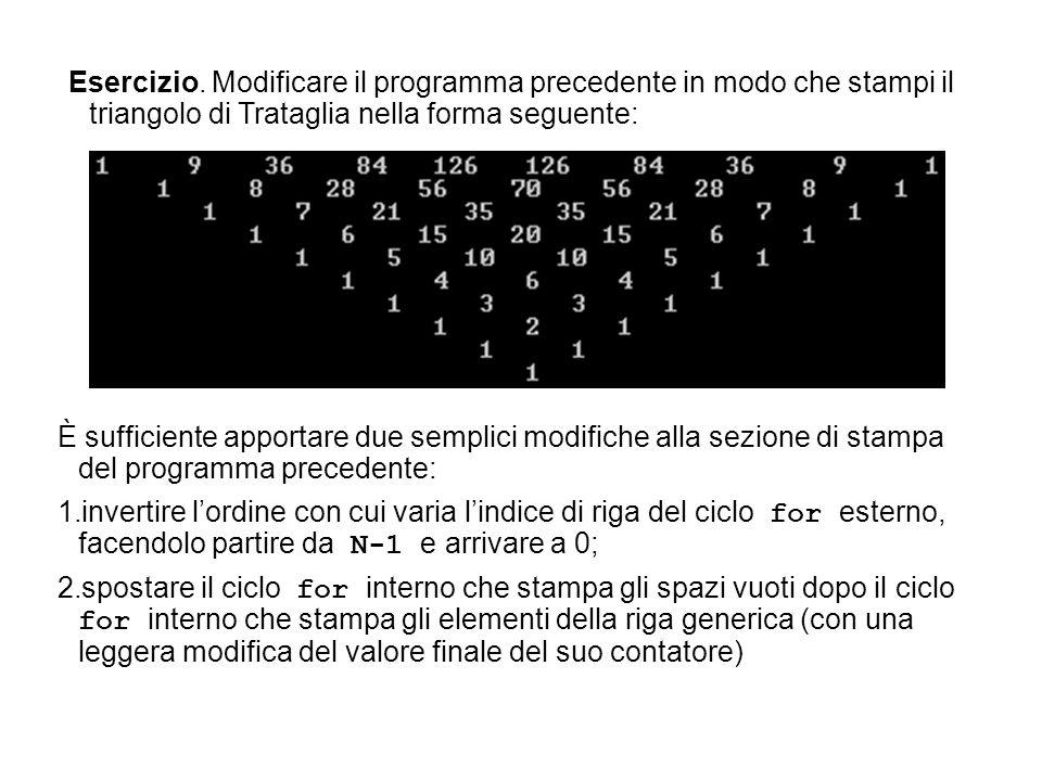 Esercizio. Modificare il programma precedente in modo che stampi il triangolo di Trataglia nella forma seguente: È sufficiente apportare due semplici