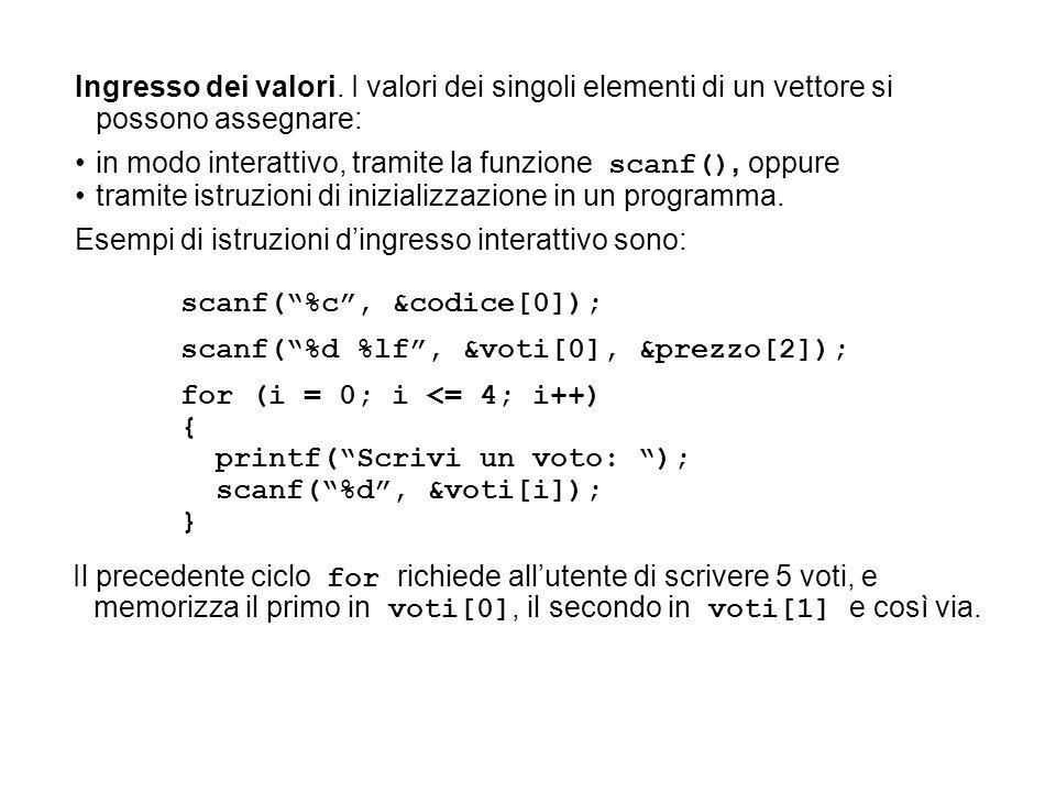 Ingresso dei valori. I valori dei singoli elementi di un vettore si possono assegnare: in modo interattivo, tramite la funzione scanf(), oppure tramit