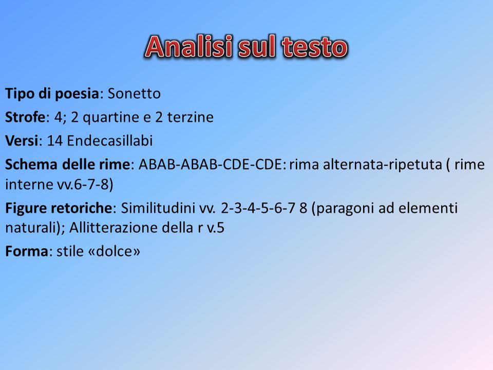 Tipo di poesia: Sonetto Strofe: 4; 2 quartine e 2 terzine Versi: 14 Endecasillabi Schema delle rime: ABAB-ABAB-CDE-CDE: rima alternata-ripetuta ( rime