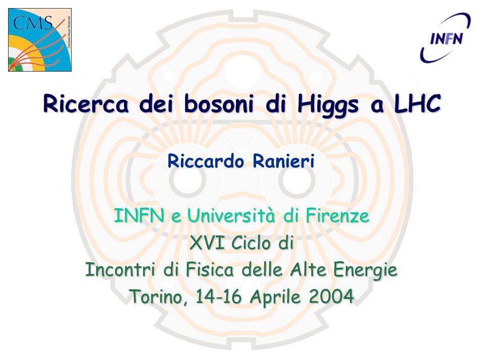 XVI IFAE Torino, 14-16 Aprile 2004 Higgs a LHCRiccardo Ranieri 12 SM Higgs: potenziale di scoperta T 0 +2anni –Dopo i primi T 0 +2anni tutto lo spettro di massa è coperto da più di un canale »l'eccesso di LEP è al limite… T=T 0  Una volta calibrati e compresi i rivelatori (T=T 0 )… T 0 +2anni 7 σ –dopo i primi T 0 +2anni (≈30fb -1 ) 7 σ su tutto lo spettro di massa primo anno –gran parte dello spettro di massa può essere esplorato nel primo anno (10fb -1 )
