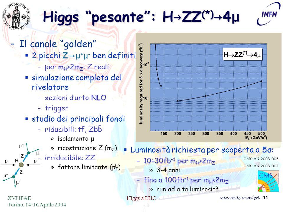 XVI IFAE Torino, 14-16 Aprile 2004 Higgs a LHCRiccardo Ranieri 11 –Il canale golden Z →μ + μ -  2 picchi Z →μ + μ - ben definiti m H >2m Z –per m H >2m Z : Z reali  simulazione completa del rivelatore NLO –sezioni d'urto NLO –trigger  studio dei principali fondi –riducibili: tt, Zbb »isolamento μ »ricostruzione Z (m Z ) –irriducibile: ZZ »fattore limitante (p T ) 5σ  Luminosità richiesta per scoperta a 5σ: –10÷30fb -1 per m H >2m Z »3-4 anni –fino a 100fb -1 per m H <2m Z »run ad alta luminosità Higgs pesante : H → ZZ (*) → 4 μ CMS AN 2003-005 CMS AN 2003-007 μ - -