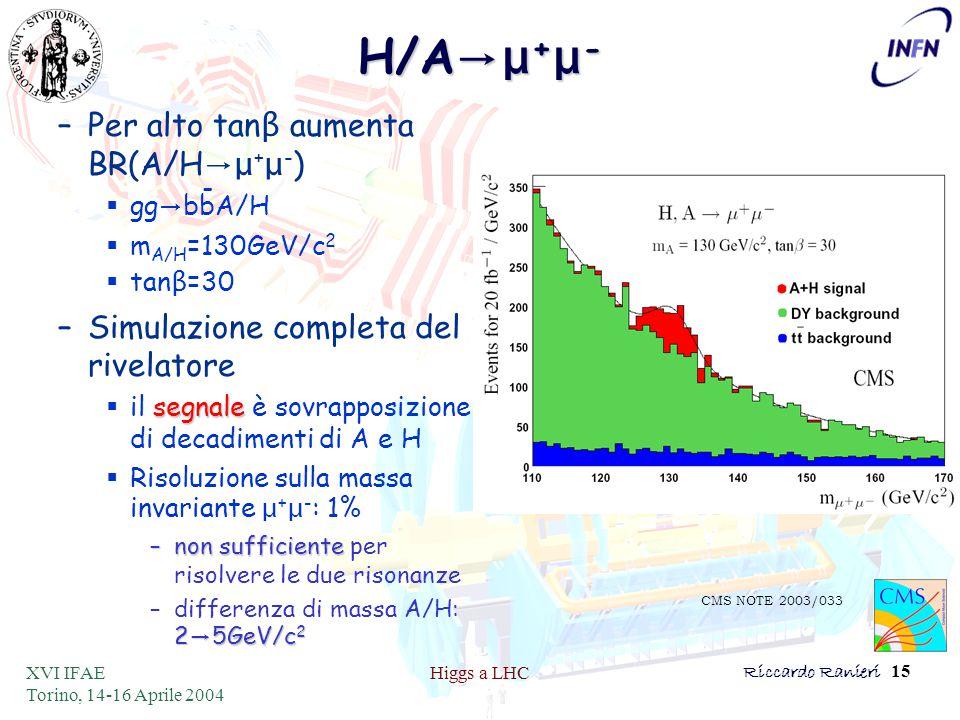 XVI IFAE Torino, 14-16 Aprile 2004 Higgs a LHCRiccardo Ranieri 15 H/A →μ + μ - –Per alto tan β aumenta BR(A/H →μ + μ - )  gg → bbA/H  m A/H =130GeV/c 2  tan β =30 –Simulazione completa del rivelatore segnale  il segnale è sovrapposizione di decadimenti di A e H  Risoluzione sulla massa invariante μ + μ - : 1% –non sufficiente –non sufficiente per risolvere le due risonanze 2 → 5GeV/c 2 –differenza di massa A/H: 2 → 5GeV/c 2 CMS NOTE 2003/033 -