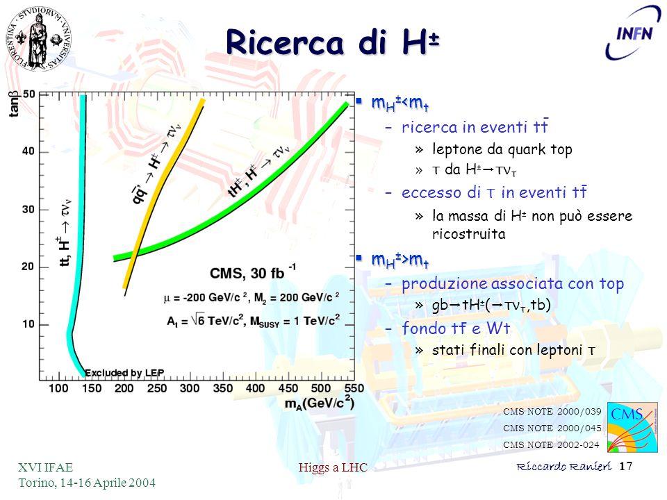 XVI IFAE Torino, 14-16 Aprile 2004 Higgs a LHCRiccardo Ranieri 17 Ricerca di H ±  m H ± <m t –ricerca in eventi tt »leptone da quark top »τ da H ± →τ