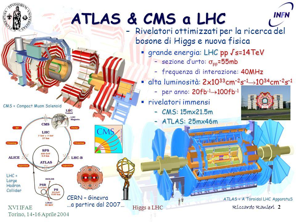 XVI IFAE Torino, 14-16 Aprile 2004 Higgs a LHCRiccardo Ranieri 2 ATLAS & CMS a LHC –Rivelatori ottimizzati per la ricerca del bosone di Higgs e nuova fisica LHCpp √s=14TeV  grande energia: LHC pp √s=14TeV σ pp =55mb –sezione d'urto: σ pp =55mb 40MHz –frequenza di interazione: 40MHz 2x10 33 cm -2 s -1  10 34 cm -2 s -1  alta luminosità: 2x10 33 cm -2 s -1  10 34 cm -2 s -1 20fb -1  100fb -1 –per anno: 20fb -1  100fb -1  rivelatori immensi –CMS: 15mx21.5m –ATLAS: 25mx46m CMS = Compact Muon Solenoid LHC = Large Hadron Collider ATLAS = A Toroidal LHC ApparatuS CERN – Ginevra …a partire dal 2007…