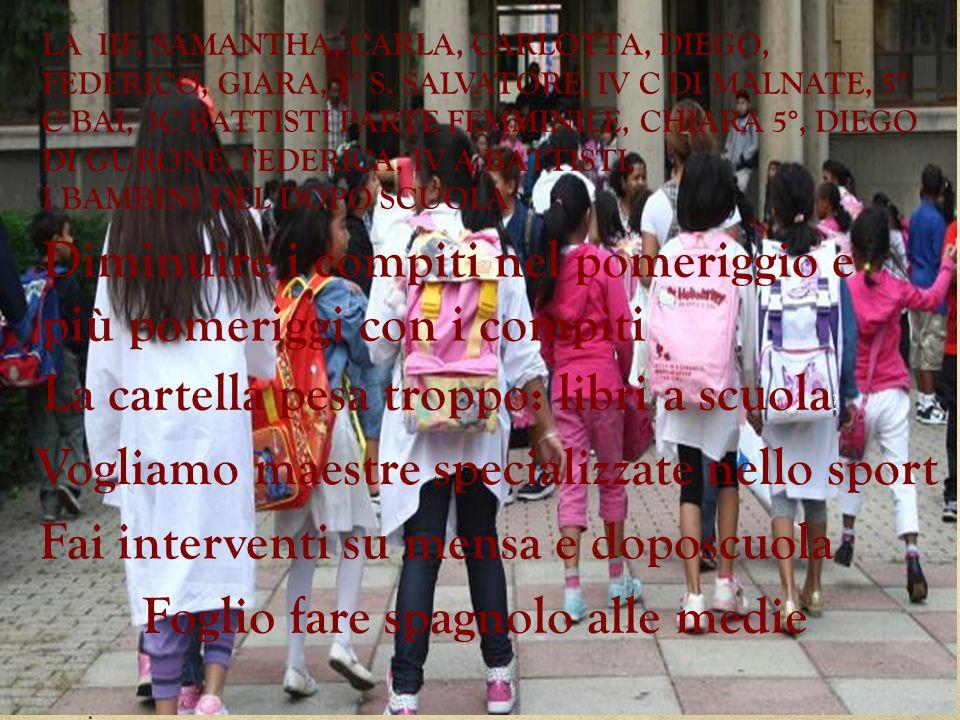 LA IIF, SAMANTHA, CARLA, CARLOTTA, DIEGO, FEDERICO, GIARA, 1° S. SALVATORE, IV C DI MALNATE, 5° C BAI, 3C BATTISTI PARTE FEMMINILE, CHIARA 5°, DIEGO D