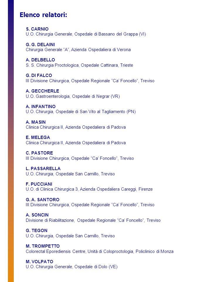 Elenco relatori: S. CARNIO U.O. Chirurgia Generale, Ospedale di Bassano del Grappa (VI) G.
