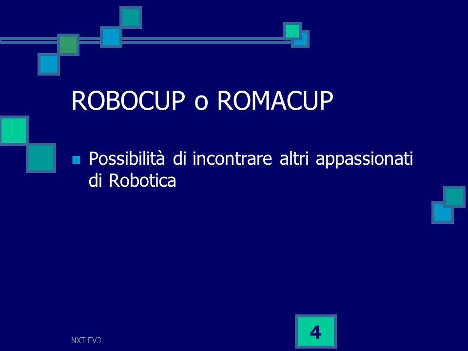 NXT EV3 4 ROBOCUP o ROMACUP Possibilità di incontrare altri appassionati di Robotica