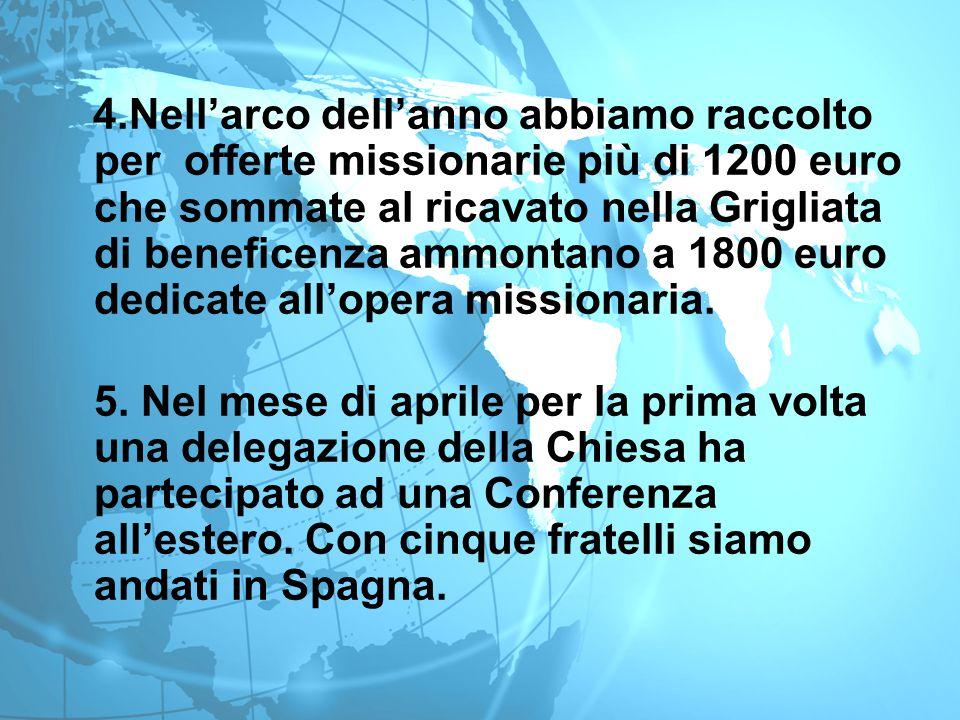4.Nell'arco dell'anno abbiamo raccolto per offerte missionarie più di 1200 euro che sommate al ricavato nella Grigliata di beneficenza ammontano a 180