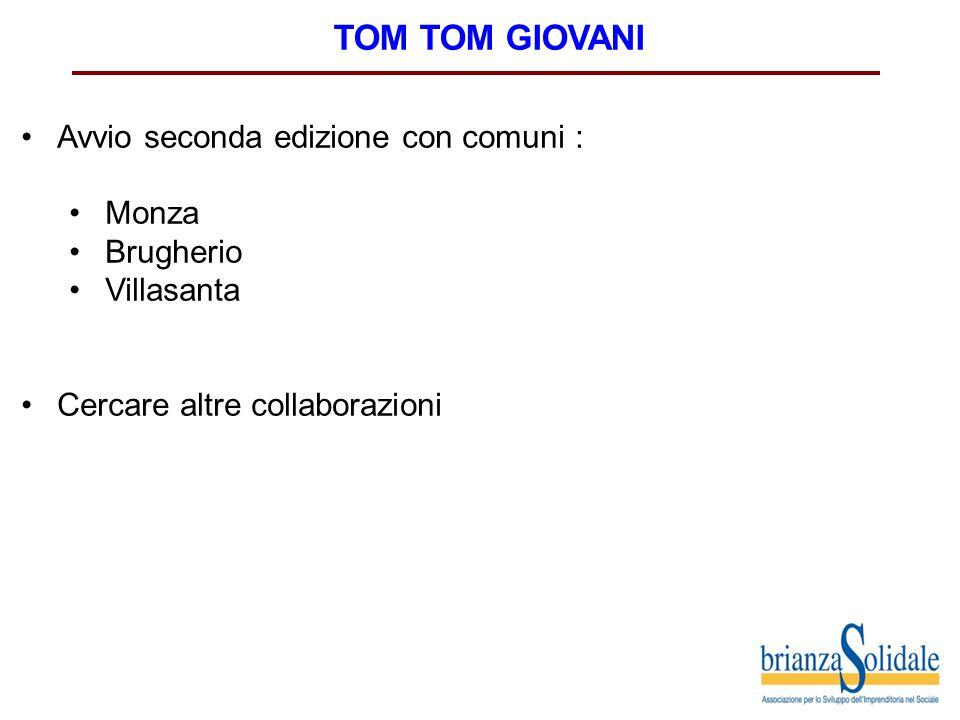 TOM TOM GIOVANI Avvio seconda edizione con comuni : Monza Brugherio Villasanta Cercare altre collaborazioni