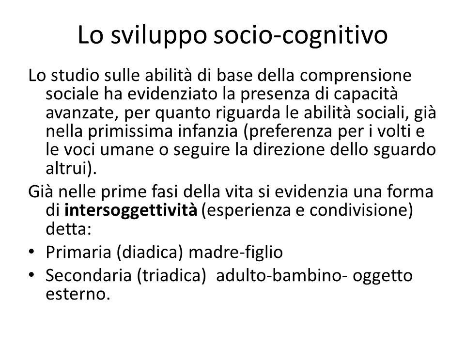 Lo sviluppo socio-cognitivo Lo studio sulle abilità di base della comprensione sociale ha evidenziato la presenza di capacità avanzate, per quanto rig