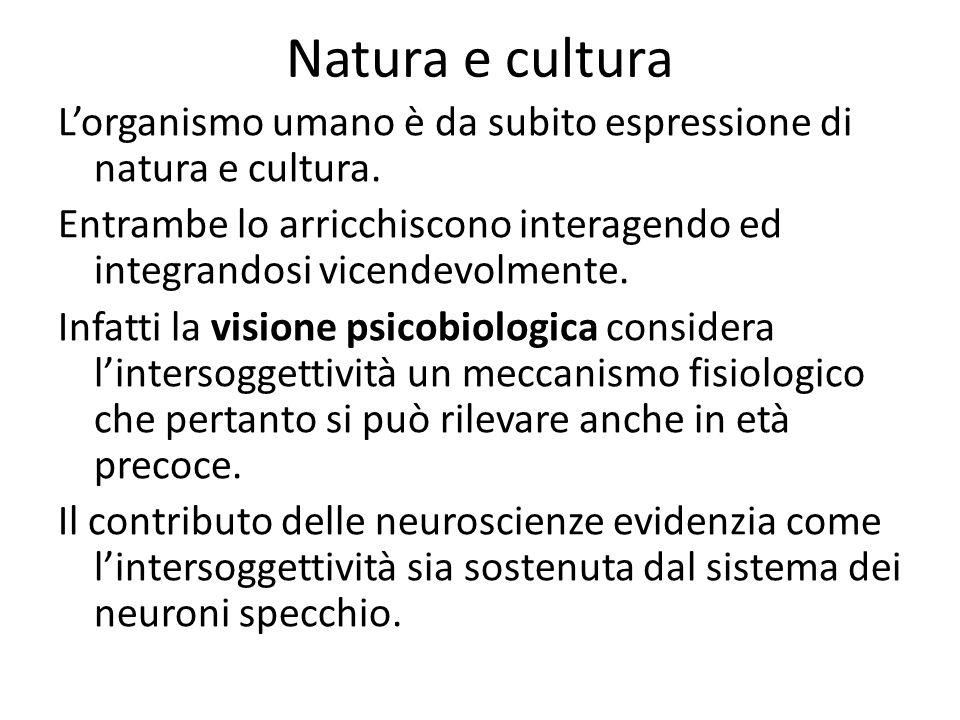 Natura e cultura L'organismo umano è da subito espressione di natura e cultura. Entrambe lo arricchiscono interagendo ed integrandosi vicendevolmente.