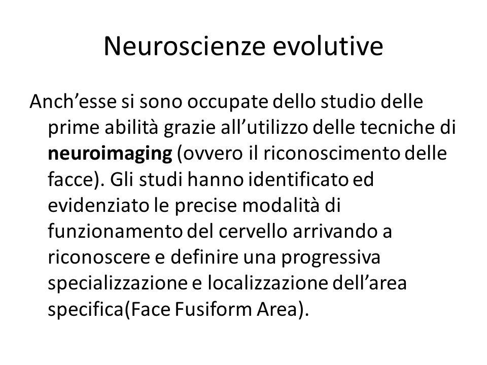 Neuroscienze evolutive Anch'esse si sono occupate dello studio delle prime abilità grazie all'utilizzo delle tecniche di neuroimaging (ovvero il ricon