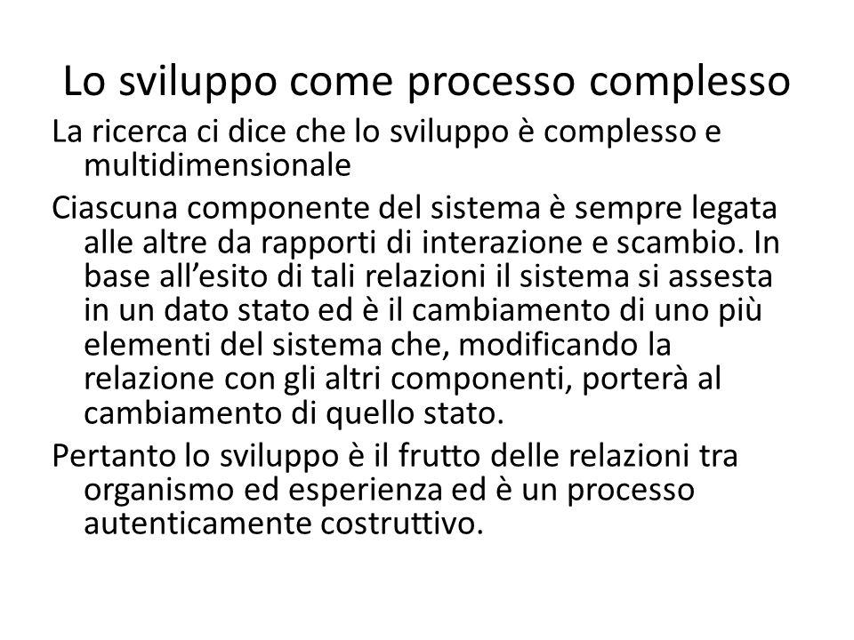 Lo sviluppo come processo complesso La ricerca ci dice che lo sviluppo è complesso e multidimensionale Ciascuna componente del sistema è sempre legata