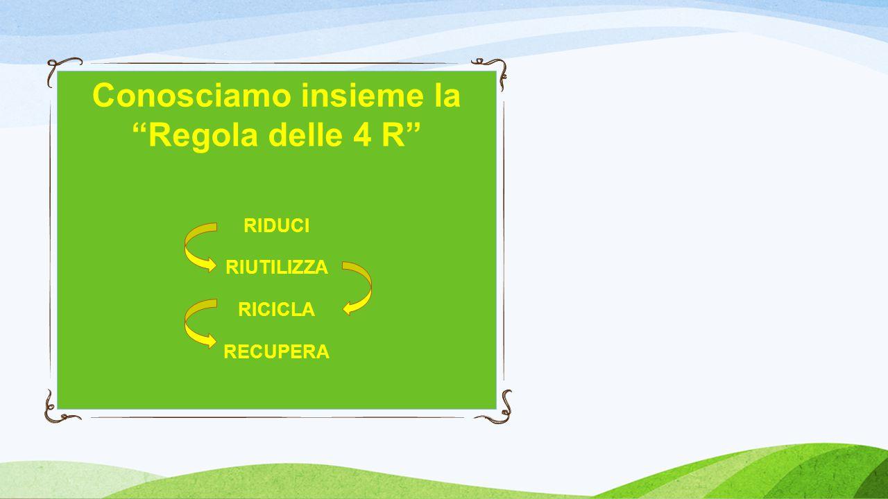 Conosciamo insieme la Regola delle 4 R RIDUCI RIUTILIZZA RICICLA RECUPERA