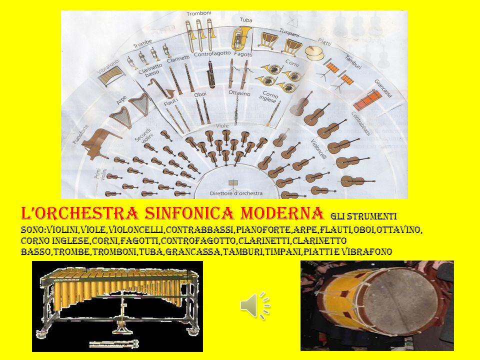 L'orchestra romantica si diffuse nel ottocento gli strumenti sono:pianoforte,violini,viole,violoncelli,contrabbasso,oboi,fagotti,flauti, clarinetti, a