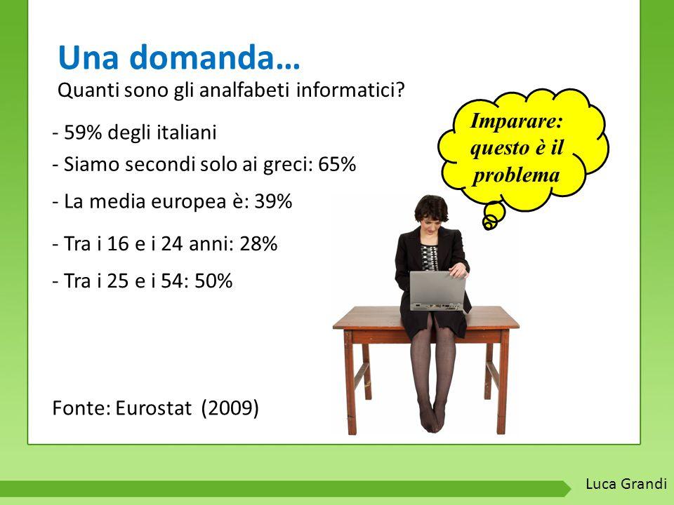 Una domanda… Imparare: questo è il problema - 59% degli italiani - Siamo secondi solo ai greci: 65% - La media europea è: 39% - Tra i 16 e i 24 anni: 28% - Tra i 25 e i 54: 50% Fonte: Eurostat (2009) Quanti sono gli analfabeti informatici.