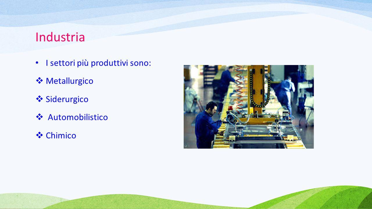 Industria I settori più produttivi sono:  Metallurgico  Siderurgico  Automobilistico  Chimico