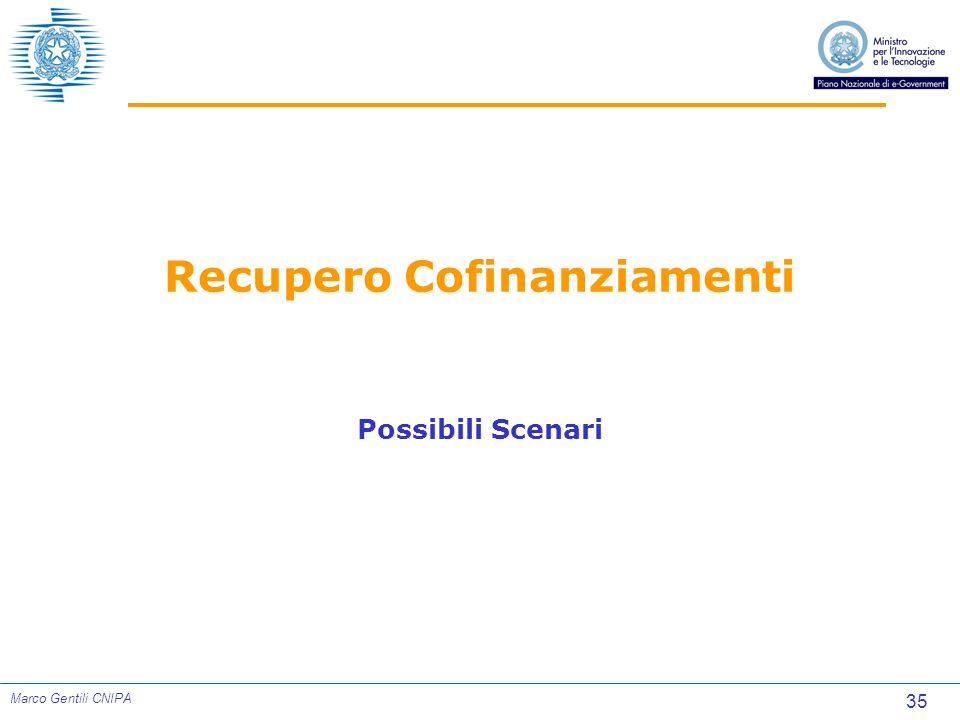 35 Marco Gentili CNIPA Recupero Cofinanziamenti Possibili Scenari