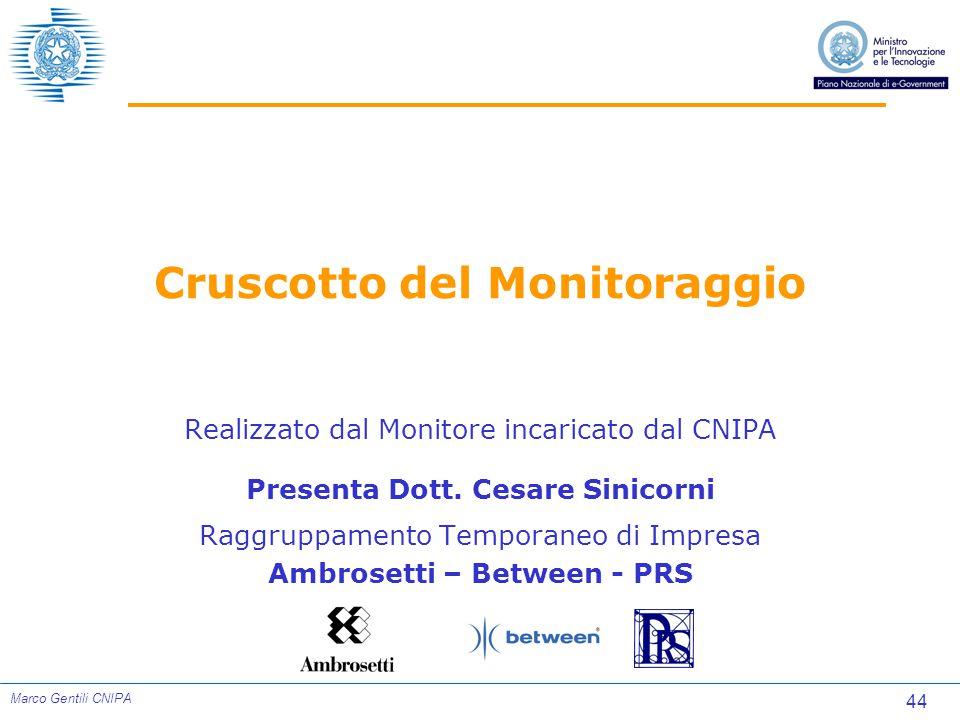 44 Marco Gentili CNIPA Cruscotto del Monitoraggio Realizzato dal Monitore incaricato dal CNIPA Presenta Dott.